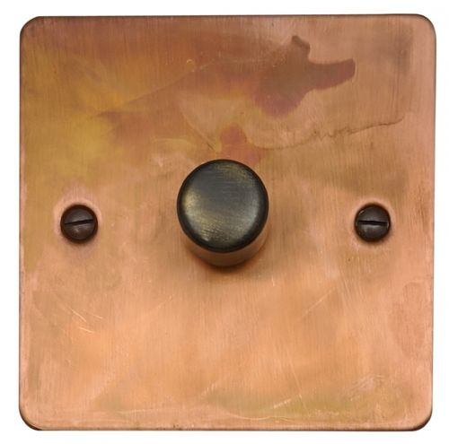 G&H FTC15 Flat Plate Tarnished Copper 1 Gang 1 or 2 Way 700W Dimmer Switch Single Plate
